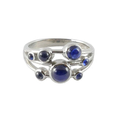18ct White Gold Cabouchon Cut Sapphire Scatter Ring