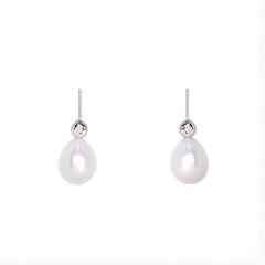 18ct White Gold Freshwater Pearl Drop Earrings, 0.10ct