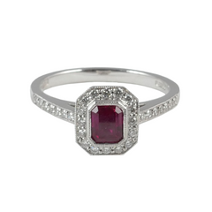 18ct White Gold Ruby & Diamond Ring, 0.50ct