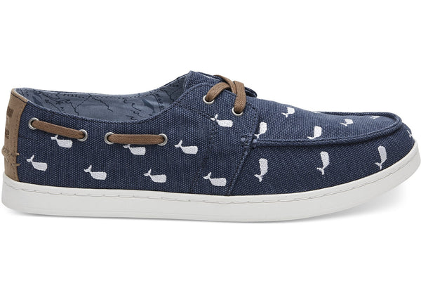 Toms - Men`s Culver Boat - Oceana Washed Canvas/Navy Whale Embroidery