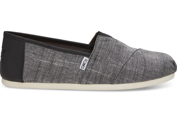 Toms - Men`s Classic Alpargatas/Vegan - Black Textured Chambray/Trim