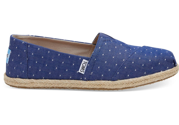 Toms - Women`s Classic Alpargatas - Imperial Blue Dot Chambray Rope Sole