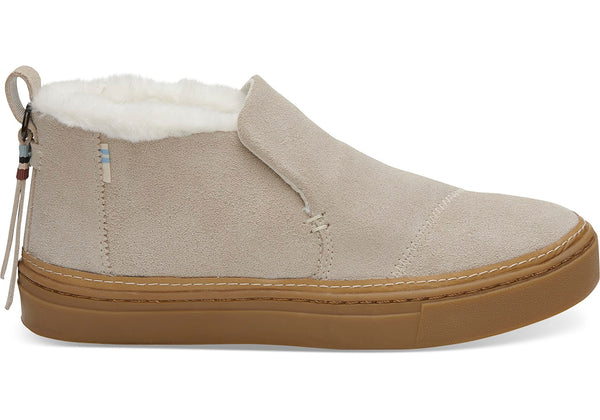 Toms - Women`s Paxton Slip-Ons - Birch Suede/Faux Fur Water Resistant