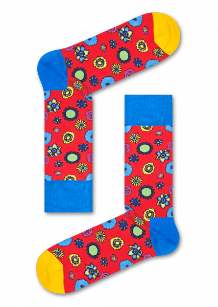 Happy Socks - Limited Edition Collaboration - The Beatles - Barevné beatlesácké ponožky, vzor Flower Power, unisex