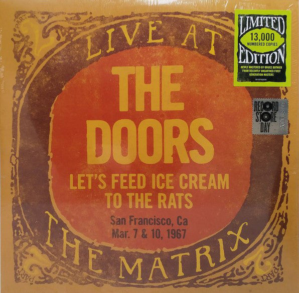 The Doors -  Let's Feed Ice Cream To The Rats: Live At The Matrix Part 2 - Mar. 7 & 10, 1967 - Record Store Day 2018