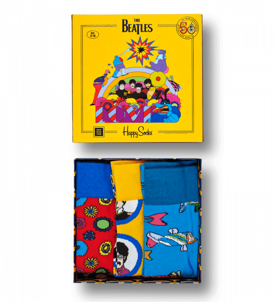 "Happy Socks - Limited Edition Collaboration - The Beatles Collector Box ""Love"" - 3 páry beatlesáckých ponožek v dárkovém  balení ""EP Box"", unisex"