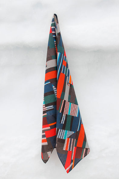 100% Wool scarf with a bold pattern. Colorful geometry. Crepe. Limited edition