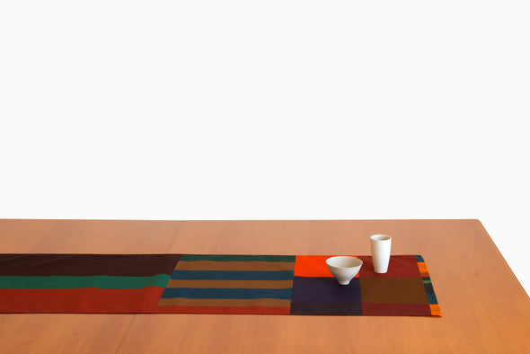 Barcelona designed home textile. Table Runner featuring a geometric design. One of a few. Cotton textiles by designer and artistOna Boix