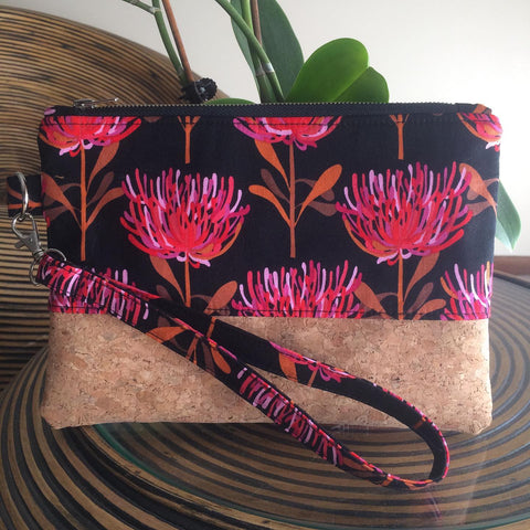 Pink Waratah and Cork Clutch