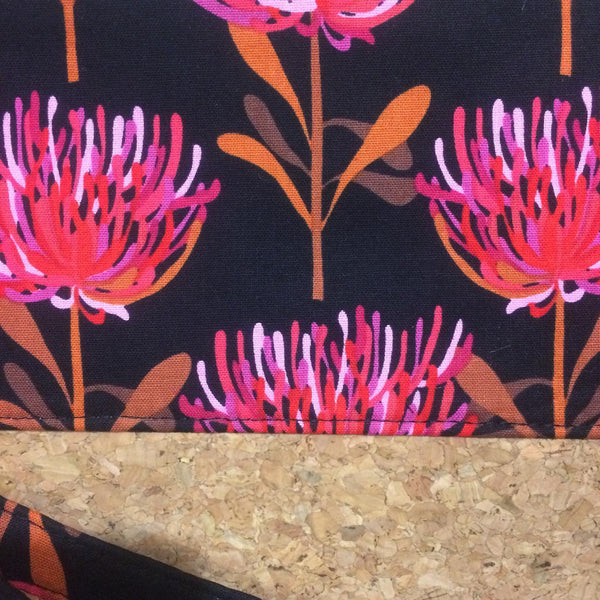 Pink Waratah and Cork Clutch - Japri