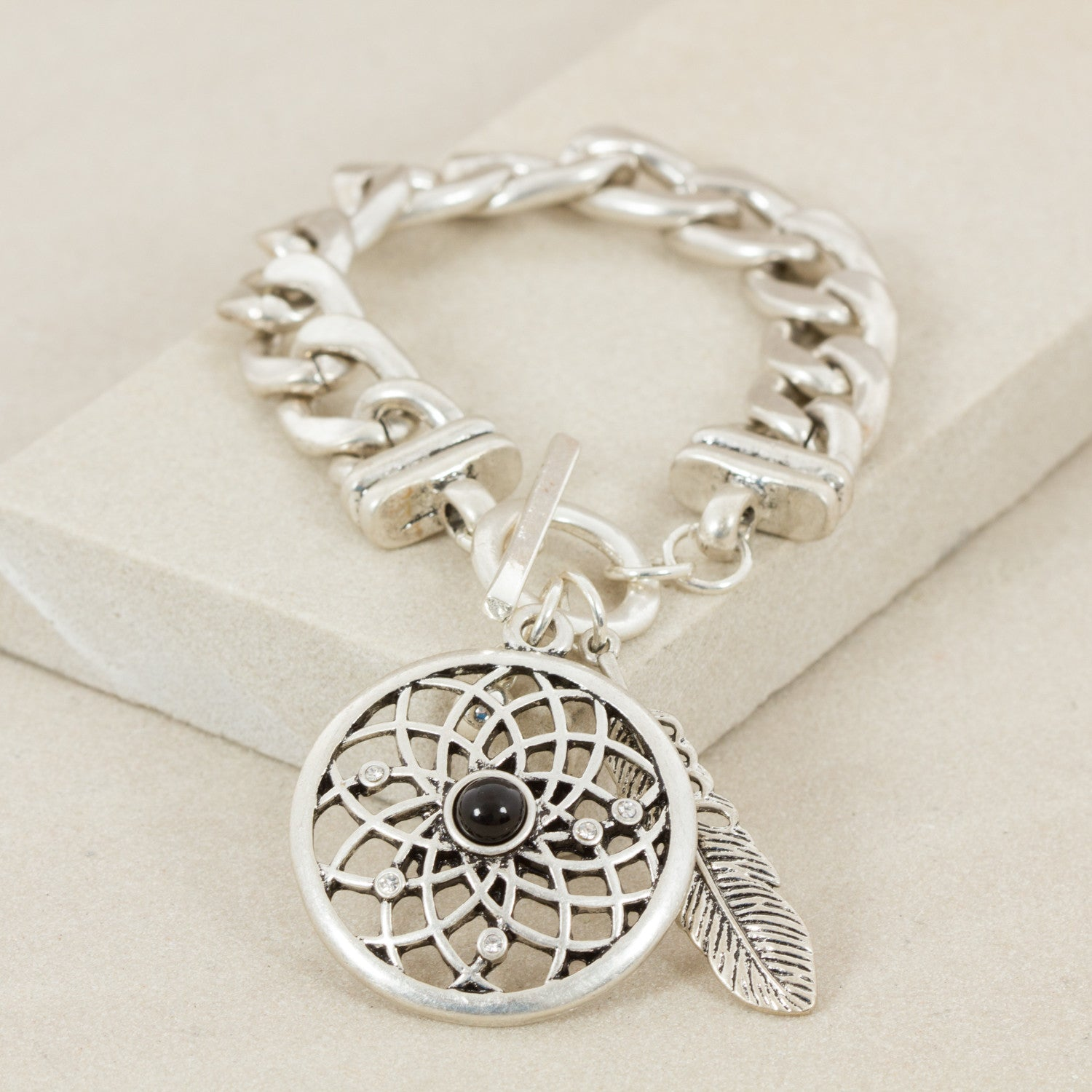 Filigree Dreamcatcher & Leaf Chain Bracelet - Japri