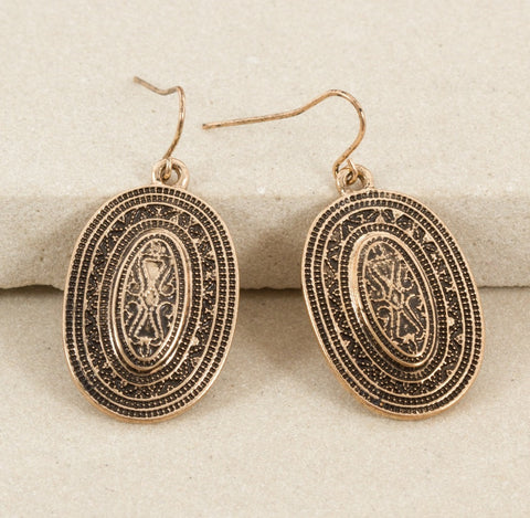 Tribal Oval Earrings - Japri