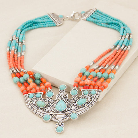 Tribal Stone Mix Plate Drop Mid Necklace - Japri
