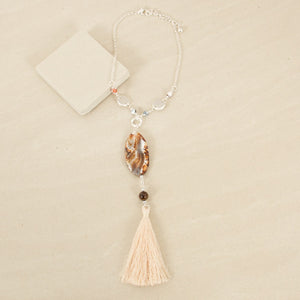 Oval Stone & Tassel Necklace - Japri