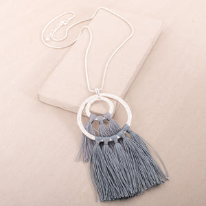 Double ring fringe necklace - Japri