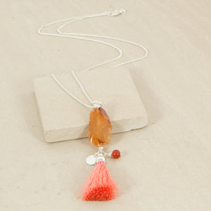Natural Stone & Tassell necklace - Japri