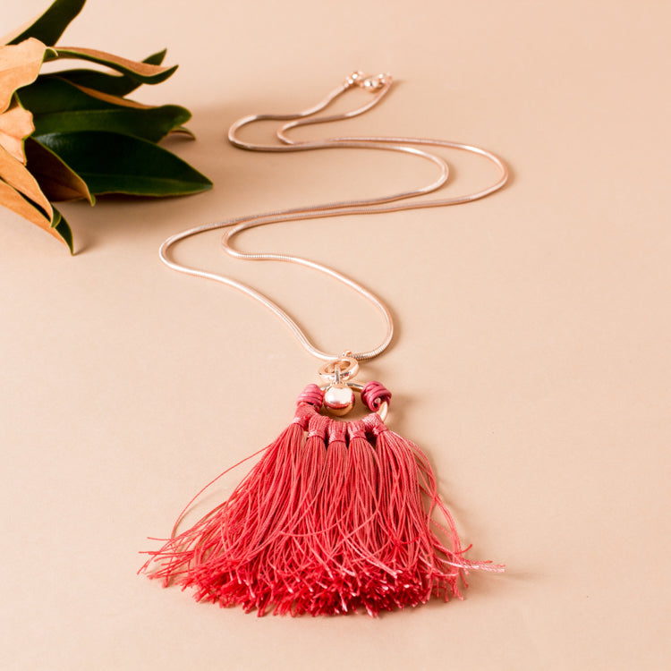 Tassel Ball Drop Chain Necklace - Japri