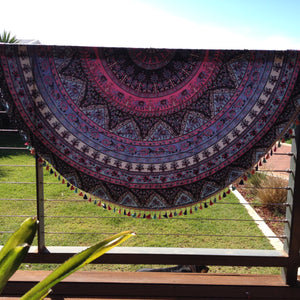 Elephant & Tassel Mandala Throw - Japri