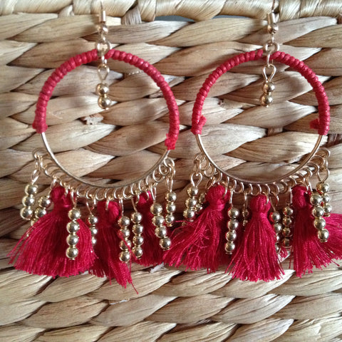 Mixed Tassel Hoop Earring - Japri