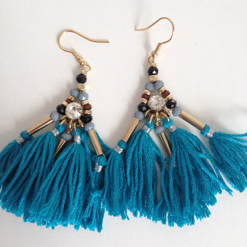 Jewelled Fringe Earrings - Japri