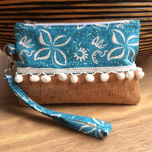 Tropical Cork Pom Pom Clutch - Japri
