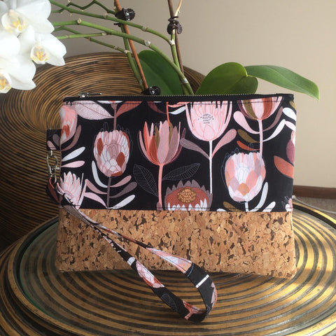Black Protea Cork Clutch - Japri
