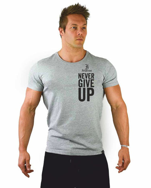 Never give up t-shirt grå [nyts-472]