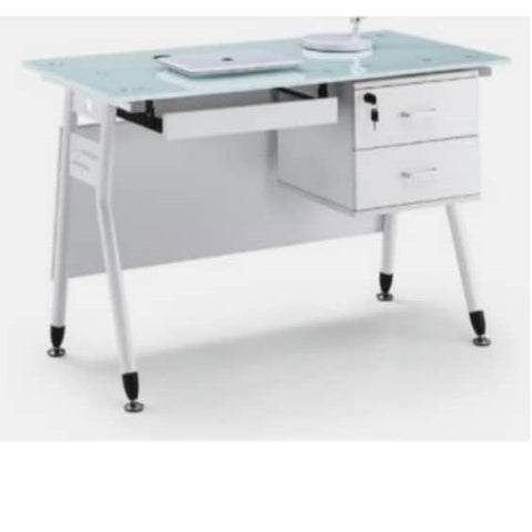 1.2 Metre Glass Top Office Desk-White