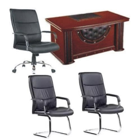 1.4 Meter Executive Table + 107 Swivel Leather Chair and 2 visitors