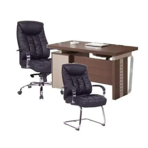 1.4Mtr Office Desk + Leather chairs-Pentagon