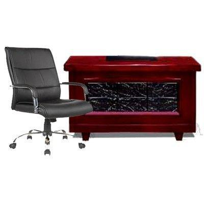 1.4Mtr Office Desk + Leather swivel chair-107