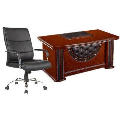 1.4Mtr Office Desk + Leather swivel chair-107 combo