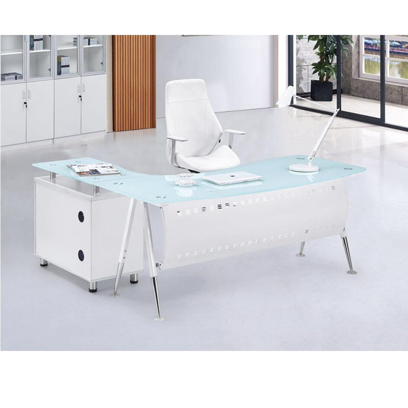 1.6 Metre Glass Top Office Desk-White