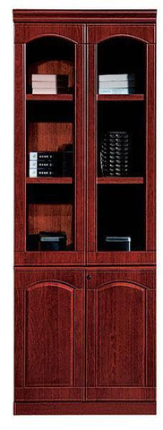 2 Door Enclosed Brown Wood And Glass File Cabinet (BL304)