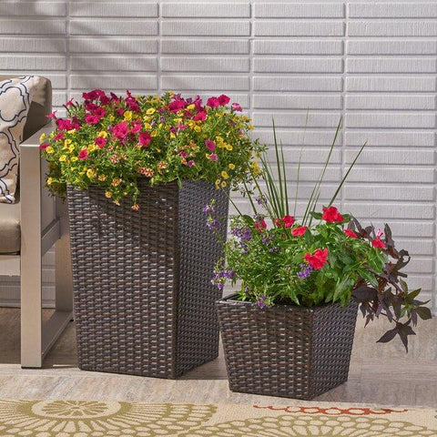2-Piece Polyethylene Wicker Planter Box Set