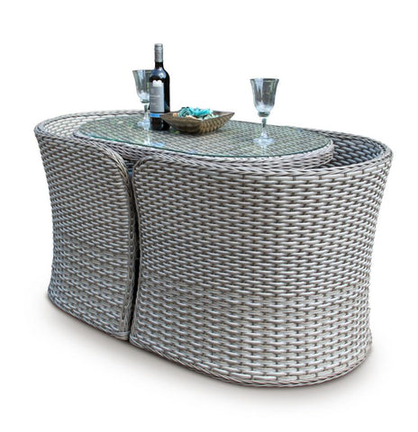 2 Seater Compact Rattan Bistro Furniture Set