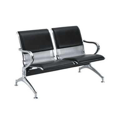 2-Seater Metal Reception Bench Padded-Black