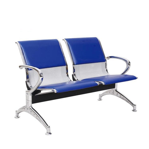 2-Seater Metal Reception Bench Padded-Blue