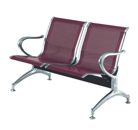 2-Seater Reception(Airport) Metal Bench-Wine