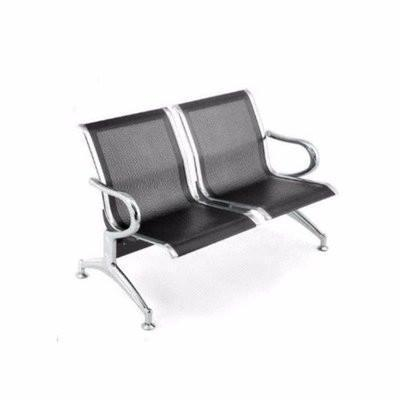 2 Seater Reception Metal Bench - Black