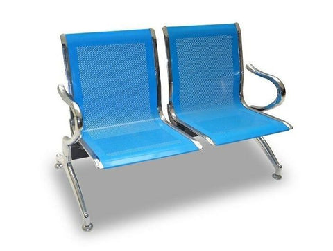 2 Seater Reception Metal Bench - Blue