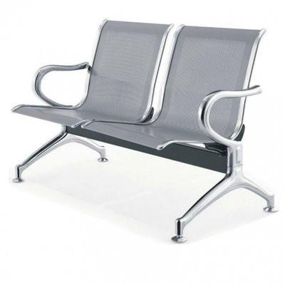 2-Seater Reception Metal Bench-Grey