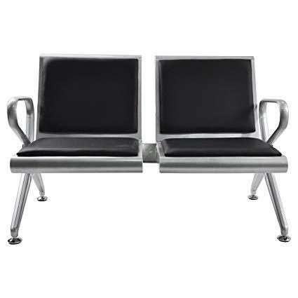 2 Seater Stainless Steel Bench with Leather Cushion-Black
