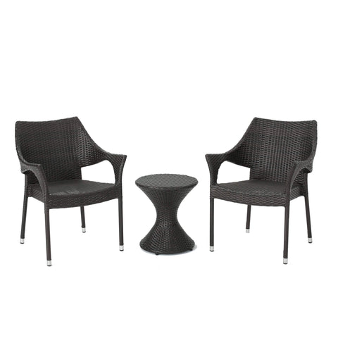 3 Piece Rattan Chat Set with Stacking Chairs and Hourglass Side Table