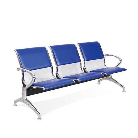 3 Seater Reception Bench-Partly Leather Blue