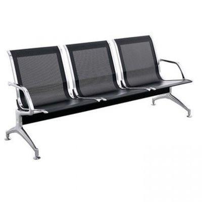3 Seater Reception Metal Bench - Black