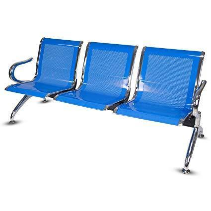 3 Seater Reception Metal Bench - Blue
