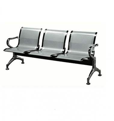 3 Seater Reception Metal  Bench-Grey