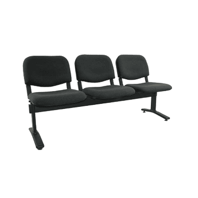 3 Seater Visitors Bench-Black Fabric