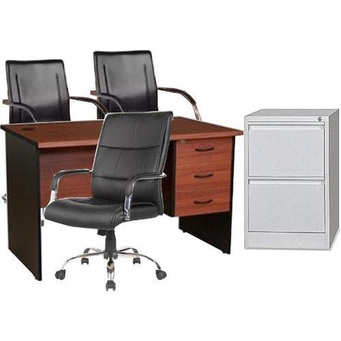 4 feet Office Desk + 107 swivel chair + 601 visitors chair + Cabinet